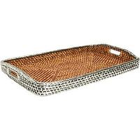 Decor/Accessories - Gaeca Rattan and Silver Large Rectangular Tray I Barneys.com - sterling silver plated rattan tray, rattan tray plated in silver, silver plated rattan serving tray,