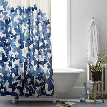 Bath - Mariposa Shower Curtain | west elm - blue butterfly shower curtain, butterfly shower curtain, graphic butterfly shower curtain,