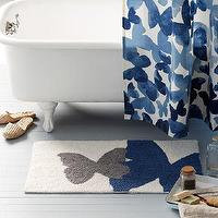 Bath - Mariposa Bath Mat | west elm - butterfly bath mat, butterlfy bath rug, blue and gray butterfly bath mat, blue and gray butterfly bath rug,