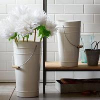 Decor/Accessories - Ceramic Floral Bucket Vases | west elm - ceramic floral bucket, ceramic floral vase, ceramic galvanised style pail,