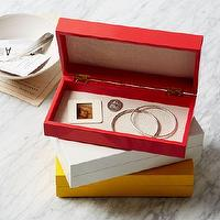 Decor/Accessories - Slim Lacquer Jewelry Boxes | west elm - red jewelry box, red lacquered jewelry box, white jewelry box, white lacquered jewelry box, yellow jewelry box, yellow lacquered jewelry box,