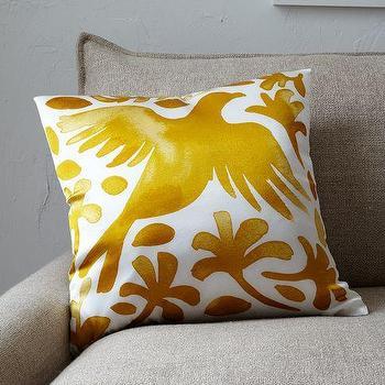 Pillows - Paulina Reyes Silk Bird Pillow Cover - Yellow | west elm - yellow and white bird pillow, silk bird pillow, yellow and white silk bird pillow,