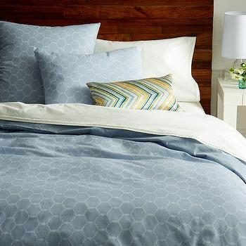 Bedding - Arabesque Jacquard Duvet Cover + Shams - Dusty Blue | west elm - blue moroccan tile duvet cover, blue moroccan tile bedding, blue moroccan bedding, blue moroccan duvet cover,