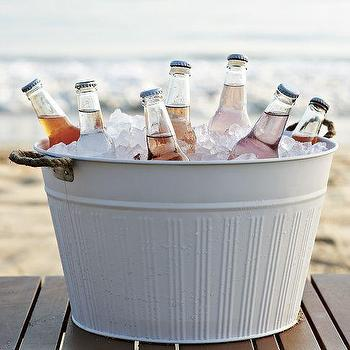Decor/Accessories - Outdoor Metal Drink Bucket | west elm - metal drink bucket, white metal drink bucket, outdoor metal drink bucket,