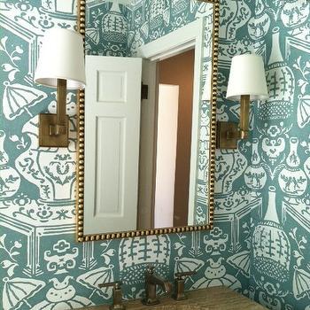 David Hicks The Vase Wallpaper, Contemporary, bathroom, Amie Corley Interiors
