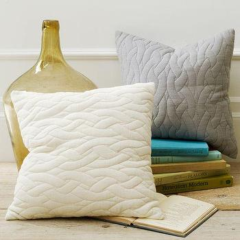 Pillows - Quilted Pillow Cover | west elm - quilted gray pillow cover, quilted ivory pillow cover, quilted pillow cover,