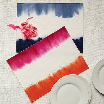 Decor/Accessories - Dip-Dye Placemat Set | west elm - dip-dye placemat, orange and pink dip-dye placemat, blue dip-dye placemat,