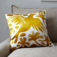 Pillows - Paulina Reyes Silk Bird Pillow Cover - Yellow | west elm - yellow and white bird pillow, silk bird pillow, yellow and white silk bird pillow,