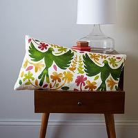 Pillows - Paulina Reyes Silk Bird Pillow Cover - Green | west elm - bird pillow, silk bird pillow, green bird pillow, silk screened bird pillow,