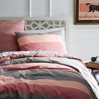 Bedding - Sunrise Stripe Duvet Cover + Shams | west elm - pink and gray bedding, pink and gray striped bedding, pink and gray striped duvet cover,
