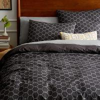 Bedding - Arabesque Jacquard Duvet Cover + Shams - Slate | west elm - gray moroccan tile duvet cover, dark gray moroccan tile bedding, dark gray moroccan tile duvet cover, dark gray moroccan patterned bedding,