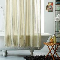 Bath - Pueblo Shower Curtain | west elm - hammam style shower curtain, turkish style shower curtain, striped cotton shower curtain with fringe,