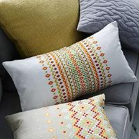 Pillows - Embroidered Mini Mosaic Pillow Cover | west elm - embroidered mosaic pillow, mosaic pillow, multi-colored embroidered pillow,