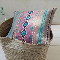 Pillows - Embroidered Puebla Pillow Cover | west elm - eclectic pillow, multi-colored embroidered pillow, indian embroidered pillow,
