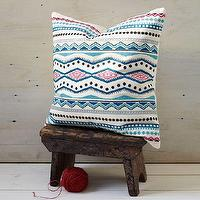 Pillows - Embroidered Mar Pillow Cover | west elm - eclectic embroidered pillow, blue and pink embroidered pillow, indian embroidered pillow,