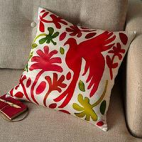 Pillows - Paulina Reyes Silk Bird Pillow Cover - Pink | west elm - silk bird pillow, bird pillow, red and green bird pillow,