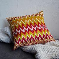 Pillows - Printed Bargello Silk Pillow Cover | west elm - red and green pillow, mexican-inspired pillow, red and green zigzag pillow,