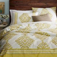 Bedding - Organic Cotton Mandala Ikat Duvet Cover + Shams | west elm - yellow screen-print duvet, yellow aztec patterned bedding, yellow diamond motif bedding, yellow and white diamond motif bedding,