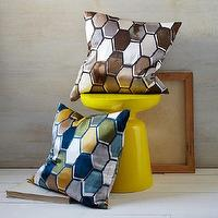Pillows - Honeycomb Tile Silk Pillow Cover | west elm - silk honeycomb pillow, honeycomb tile pillow cover, blue yellow and gray pillow, brown gray and white pillow,