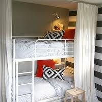 House Tweaking - boy&#039;s rooms - Sherwin Williams - Contented - boys room, boys bedroom, gray walls, gray paint, gray paint colors, accent wall, striped accent wall, white and gray accent wall, white and gray striped accent wall, ikea beds, ikea bunk beds, ikea tromso loft bed, boys bunk beds, white and blue bedding, white and blue duvet, ikea pillow, ikea pillow cover, ikea cushion, ikea cushion cover, ikea kvartal single track rail, ikea ribba ledge, bunk bed curtains, bunk bed panels, ikea lenda, white and gray boys room, white and gray boys bedroom,