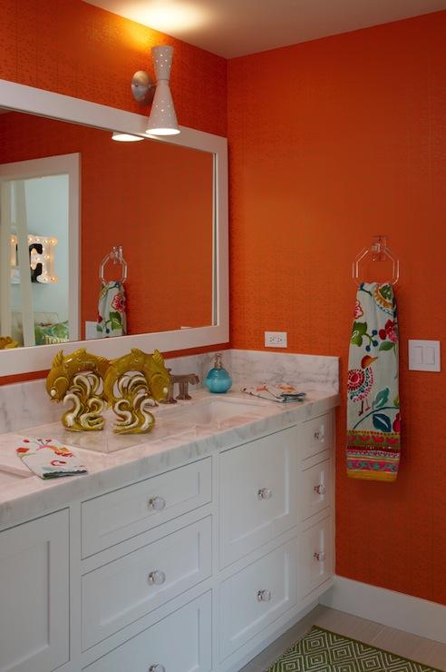 Orange grasscloth wallpaper contemporary bathroom k for Orange and brown bathroom ideas
