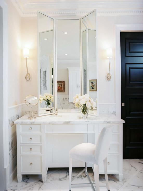 Original  Inch White Marble Top Single Sink Bathroom Vanity In Dark Brown Finish