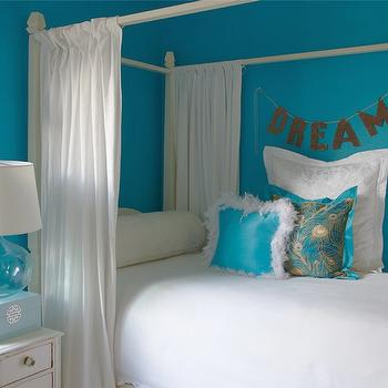 K Mathiesen Brown Design - girl's rooms - turquoise blue, turquoise, turquoise girls room, turquoise girls bedroom, turquoise blue girls room, turquoise blue girls bedroom, turquoise walls, turquoise blue walls, girls bed, canopy bed, white canopy bed, girls canopy bed, white bed panels, bed panels, bed curtains, turquoise pillows, white and turquoise pillow, whitewashed nightstand, lacquer jewelry box, blue jewelry box, blue lacquer jewelry box,