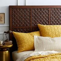 Beds/Headboards - Carved Headboard - Cafe | west elm - carved wood headboard, carved headboard, moroccan style carved headboard,