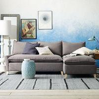 Seating - Bliss Down-Filled Sectional | west elm - gray sectional, flanged seam sectional, gray sectional sofa, sectional sofa,