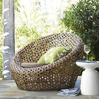 Seating - Montauk Nest Chair - Antique Palm | west elm - all-weather wicker chair, wicker nest chair, contemporary wicker patio furniture, wicker patio furniture,