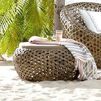 Seating - Montauk Ottoman - Antique Palm | west elm - wicker ottoman, all-weather wicker ottoman, contemporary wicker patio furniture, wicker patio furniture,