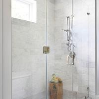 BHG - bathrooms - glass shower enclosure, glass shower design, shower window, shower bench, marble shower surround, marble shower floor, marble mosaic shower floor, mosaic marble shower floor, teak stool, teak shower stool,