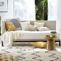 Beds/Headboards - Nailhead Trim Daybed | west elm - daybed, nailhead trim daybed, brushed cotton nailhead trim,