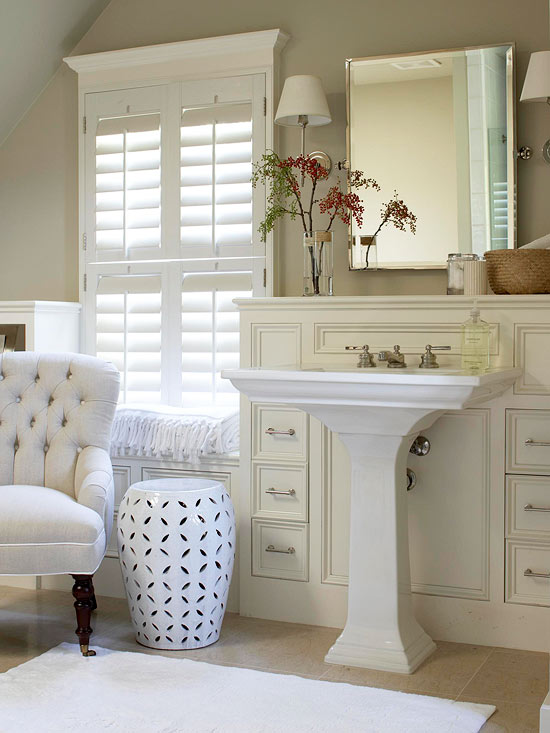 White And Taupe Bathroom Bathroom Bhg