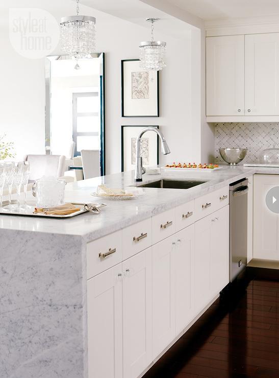 Marble kitchen peninsula contemporary kitchen style - White kitchen with peninsula ...