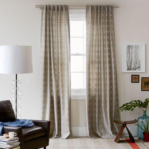 Circle stitch printed window panel plaster west elm for West elm window treatments