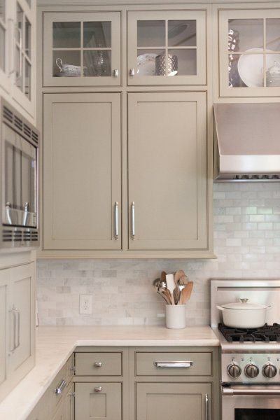 Gray Green Kitchen Cabinets Transitional Kitchen Hollingsworth Interiors