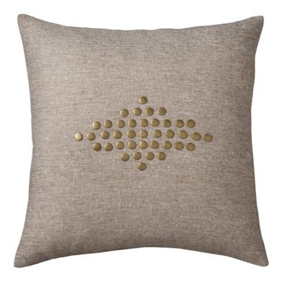 Pillows - Nate Berkus Nail Head Decorative Pillow - Earth I Target - gray pillow with brass nailhead detail, pillow with brass nailhead detail, modern brass nailhead trim pillow,
