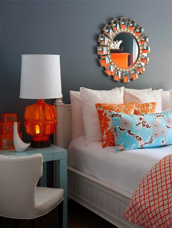 Orange and blue bedroom contemporary bedroom k - Orange and light blue bedroom ...