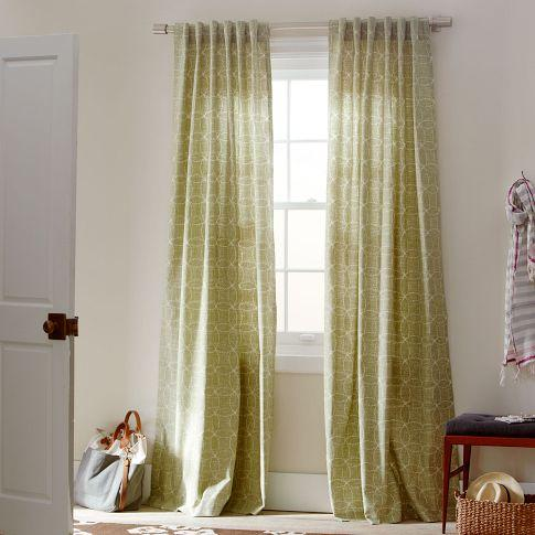 Circle stitch printed window panel green tea west elm for West elm window treatments
