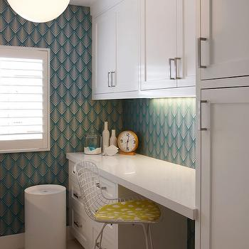 K Mathiesen Brown Design - laundry/mud rooms - contemporary laundry room, laundry room, teal wallpaper, teal geometric wallpaper, geometric wallpaper, laundry room cabinets, white laundry room cabinets, white countertop, laundry room wallpaper, black and white rug, geometric rug, black and white geometric rug,