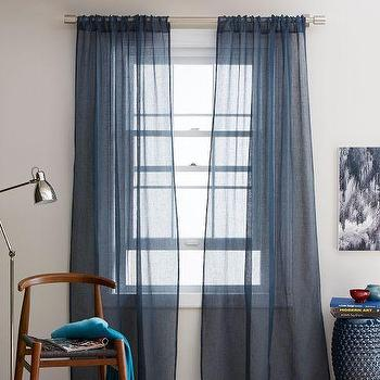 Window Treatments - Sheer Linen Window Panel - Regal Blue | west elm - blue linen sheers, blue linen window panel, blue linen drapes, blue linen curtains,