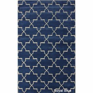 Rugs - Handmade Luna Moroccan Trellis Wool Rug (7'6 x 9'6) | Overstock.com - blue moroccan rug, blue and white moroccan rug, moroccan trellis rug, royal blue trellis rug,