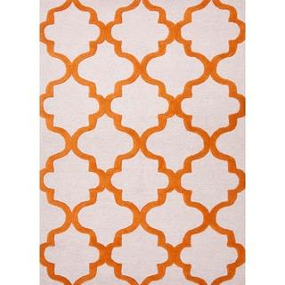 Rugs - Hand-tufted Modern Geometric Wool Rug (5' x 8') | Overstock.com - orange and white geometric rug, orange and white modern geometric rug, orange and white trellis rug,