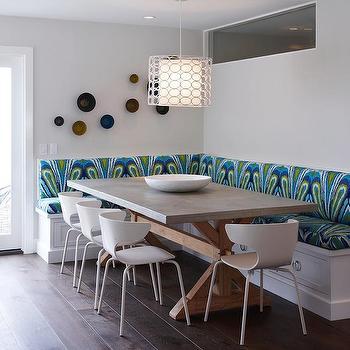 K Mathiesen Brown Design - dining rooms - contemporary dining room, L shaped banquette, built in banquette, dining banquette, upholstered dining banquette, trina turk fabric, trina turk peacock print, trina turk peacock print in pool, trin turk peacock print pool, zinc dining table, zinc top table, zinc top dining table, trestle dining table, reclaimed wood dining table, reclaimed wood trestle dining table, white dining chairs, modern white dining chairs, green and blue upholstered bench, upholstered banquette, upholstered built in banquette,