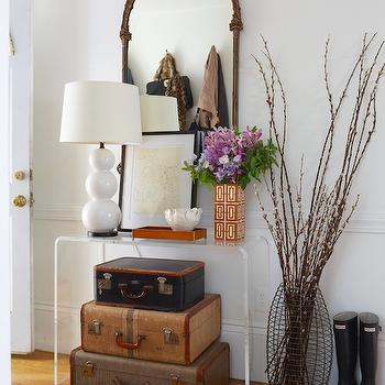 Stacked Suitcases, Contemporary, entrance/foyer, Erin Gates Design