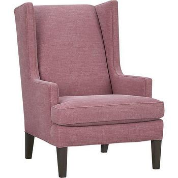 Seating - Luxe Wing Chair | Crate and Barrel - stonewashed linen wing chair, raspberry pink wing chair, contemporary wing chair,