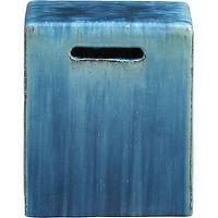 Tables - Carilo Blue Garden Stool | Crate and Barrel - garden stool, blue garden stool, cube-shaped blue garden stool,