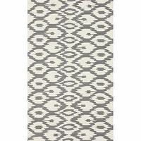 Rugs - Handmade Modern Ikat Trellis Grey Rug (7&#039;6 x 9&#039;6) | Overstock.com - gray ikat rug, gray and cream ikat rug, gray ikat trellis rug,