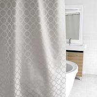 Bath - Pirouette Fabric Shower Curtain | HomeDecorators.com - gray and cream shower curtain, gray geometric shower curtain, gray and cream interlocking circles shower curtain,